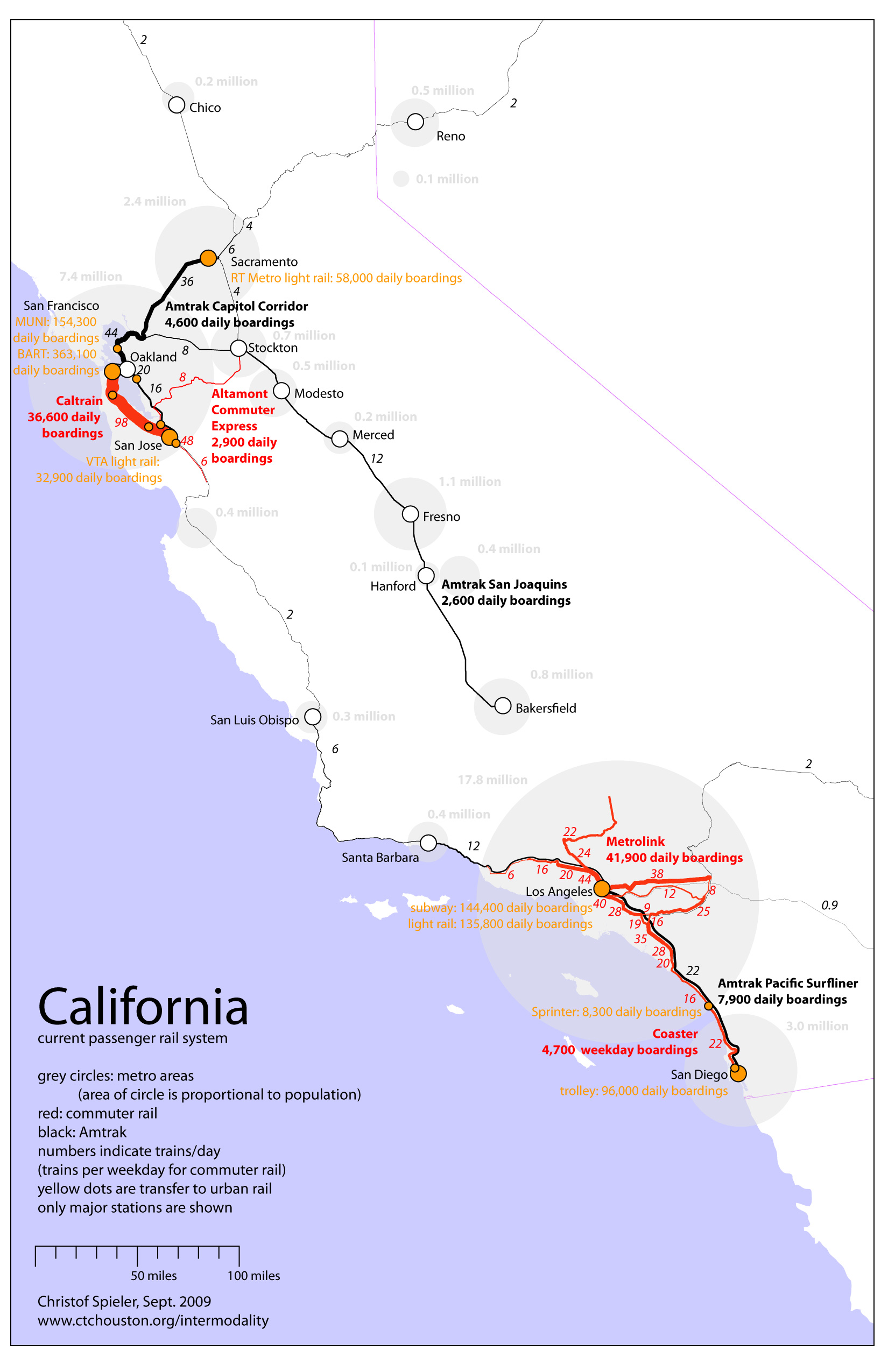 High Speed Rail Intermodality - Us map of commuter railroads